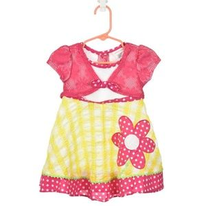 Youngland Pink, White, & Yellow Patterned Dress